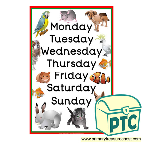 Days of the Week Pet Poster