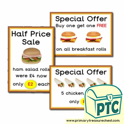 Sandwich Shop Role Play Special Offers (21p - £99)