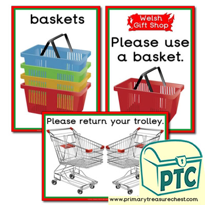 Role Play Welsh Gift Shop Basket / Trolley Signs