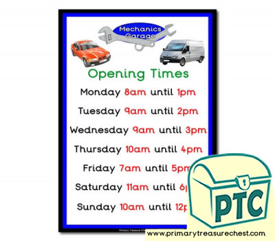 Mechanics Garage Role Play Opening Times (O'clock)