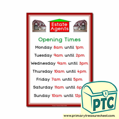 Role Play Estate Agents Opening Times Poster (O'clock)