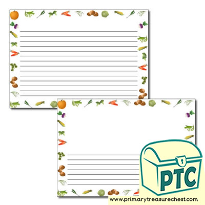 Vegetable Themed Landscape Page Borders/Writing Frames (narrow lines)