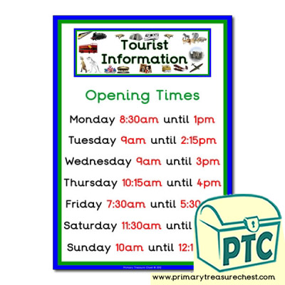 Role Play Tourist Information Opening Times (Quarter & Half)