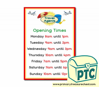 Role Play Travel Agents Opening Times Poster (O'clock)