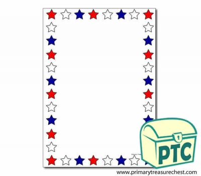 Red, White and Blue Stars Page Border/Writing Frame (no lines)