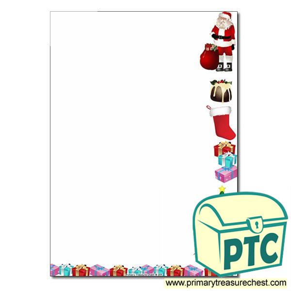 Christmas Page Border.Christmas Themed Page Border Writing Frame No Lines