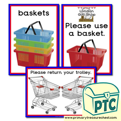 London Gift Shop Basket / Trolley Signs