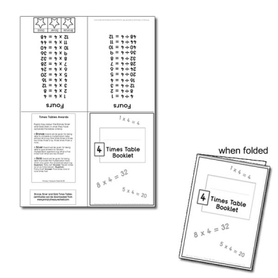 Four Times Table Booklet