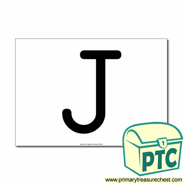 'J' Uppercase Letter A4 poster  (No Images)