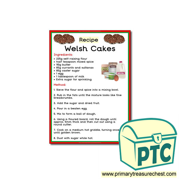 Poster Recipe for Welsh Cakes , Happy Learners Resources