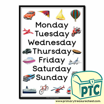 Travel & Transport Themed Days of the Week Poster