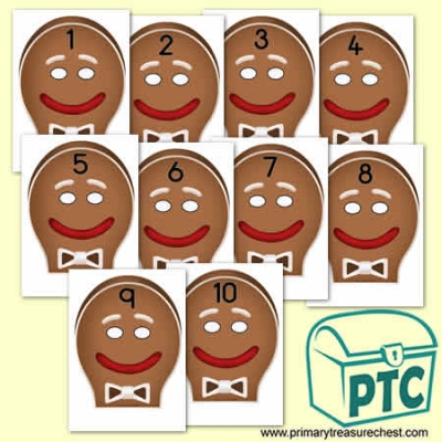 Gingerbread Man Role Play Masks Numbered 1-10