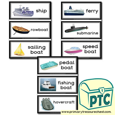 Sea Transport Themed Flashcards