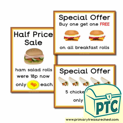 Sandwich Shop Role Play Special Offers (1-20p)