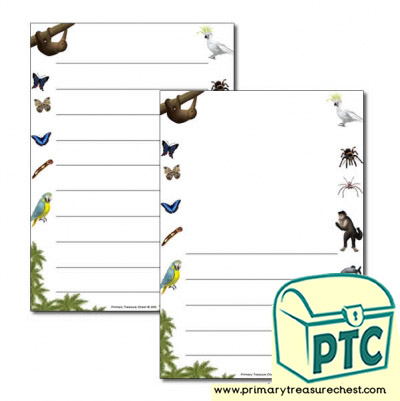 Rainforest II themed Page Border/ Writing Frames (wide lines)