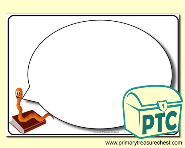 Bookworm Speech Bubble Worksheet