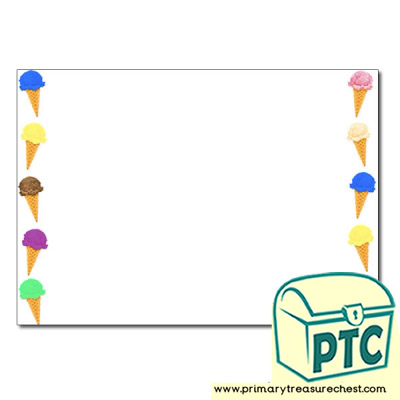 Ice Cream Landscape Page Border/Writing Frame (no lines)