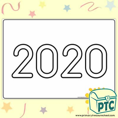 '2020' New Year's Themed Play Dough Mat