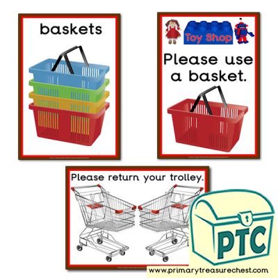 Toy Shop Shopping Basket Signs