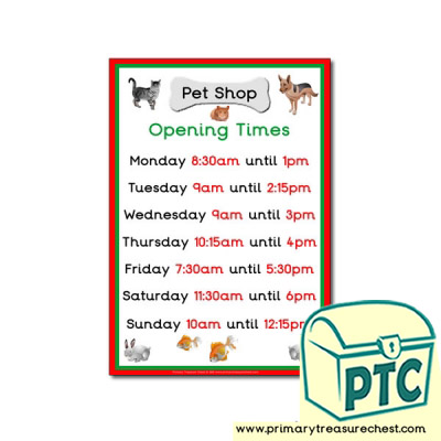 Pet Shop Role Play Opening Times Sign (Quarter & Half Past)