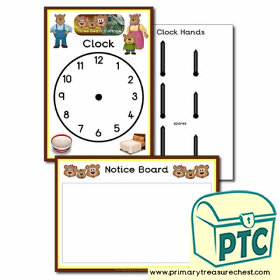 Clock & Notice Board- Goldilocks and The Three Bears