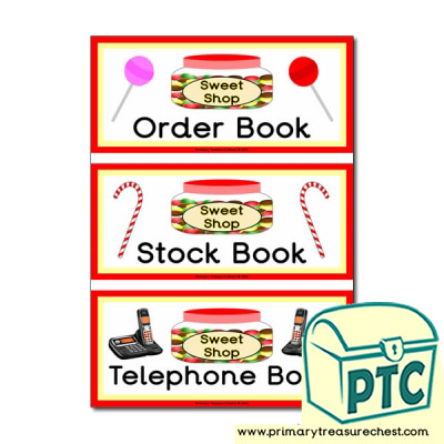 Sweet Shop Role Play Book Covers / Labels