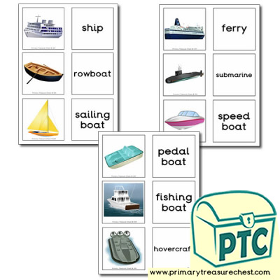 Sea Transport Themed Matching Cards