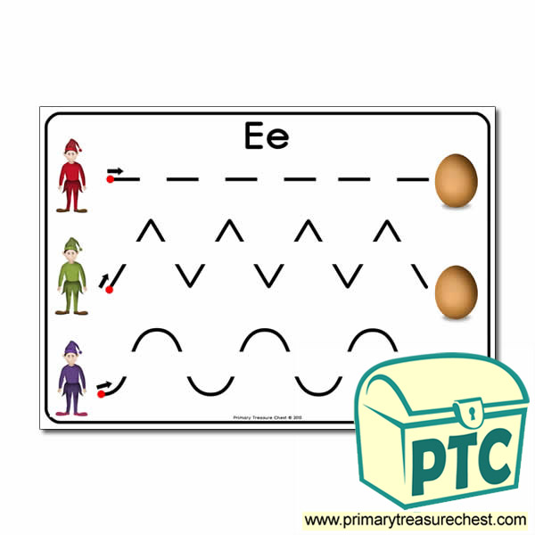 'Ee' Themed Pre-Writing Patterns Activity Sheet