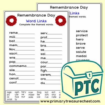 Remembrance Day Word Link Worksheet