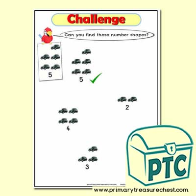 Taxi Themed Number Shapes Pieces Challenge