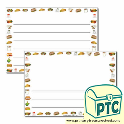 Sandwich Shop Themed Landscape Page Border/Writing Frame (wide lines)