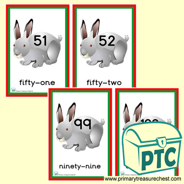 Rabbit Themed Number Line 51 to 100