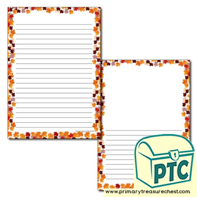 Autumn Leaves Page Border/Writing Frame (narrow lines)