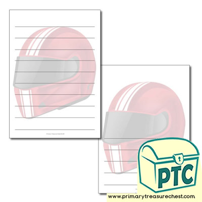 Motorbike Helmet themed Page Borders/Writing Frames (wide lines)