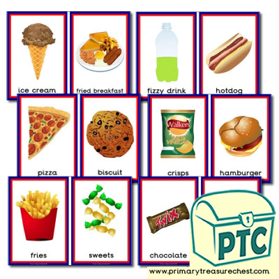Unhealthy Foods  Sorting Cards