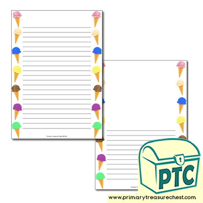 Ice Cream Page Border/Writing Frame (narrow lines)