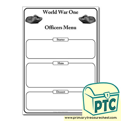 World War One Menu Worksheet
