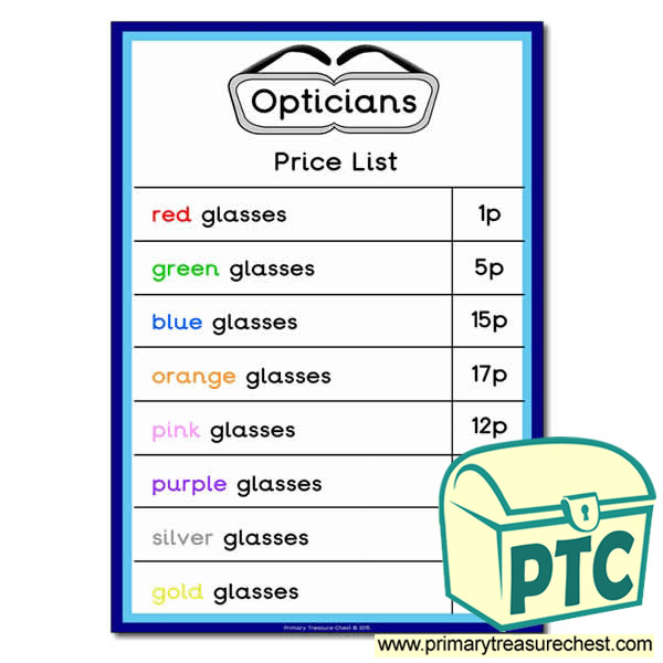Opticians Role Play Price List (1-20p)