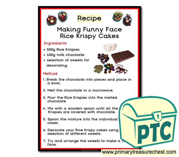 'Funny face Rice Krispy cakes' Recipe Poster