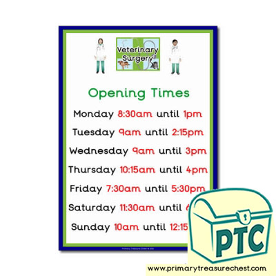 Vets Role Play Opening Times Poster (Quarter & Half Past)