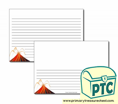Volcano Landscape Page Border/Writing Frame (narrow lines)