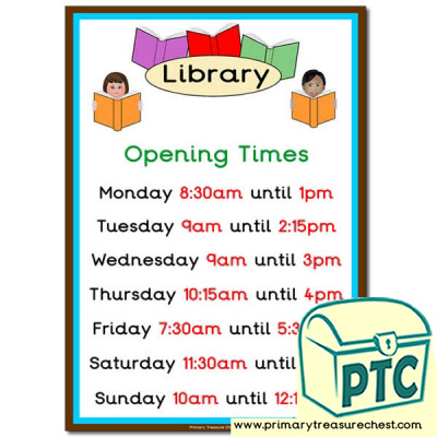 Library Role Play Opening Times (Quarter & Half Past)