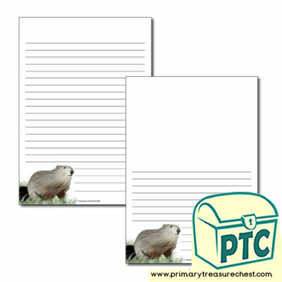 Groundhog Day Themed  Page Border/Writing Frame (narrow lines)