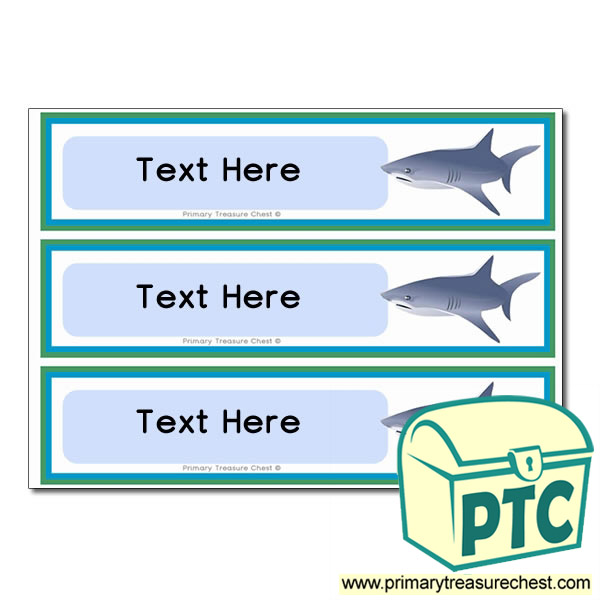 Sea Life Shark Themed Pupil Drawer Labels (Large)