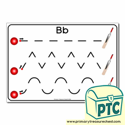 'Bb' Themed Pre-Writing Patterns Activity Sheet