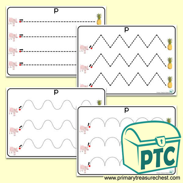 'Pp' Themed Pre-Writing Patterns Activity Sheets
