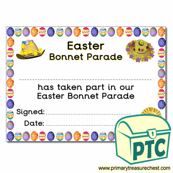 Easter Bonnet Parade certificate