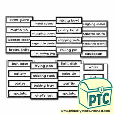 Cooking Equipment Themed Display Words