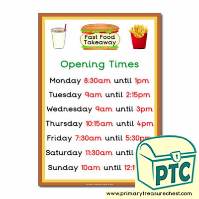 Fast Food Takeaway Role Play Opening Times (Quarter & Half Past)