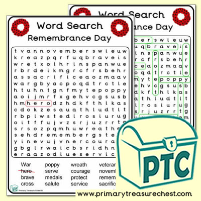Remembrance Day Wordsearch A4